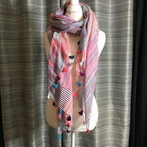 Square colorful tassel scarf